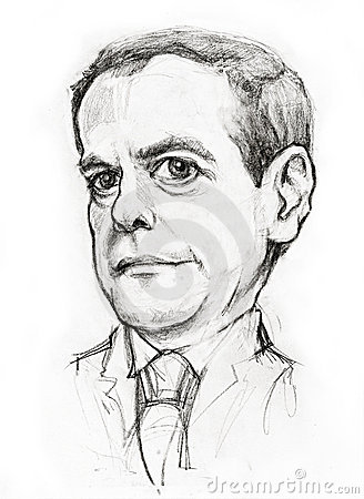 Medvedev caricature Editorial Stock Image