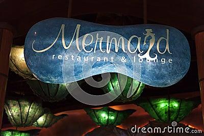 Meerjungfrau-Aufenthaltsraum-Zeichen im Silverton-Hotel in Las Vegas, Nanovolt an Redaktionelles Stockfoto