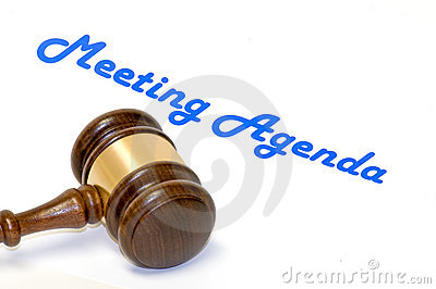 Meeting agenda and gavel