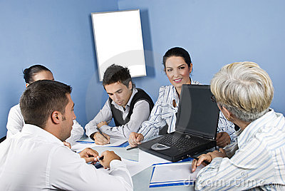 Meeting  business people using laptop