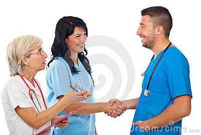 Meeting doctors and handshake