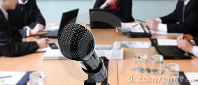 meeting with microphone
