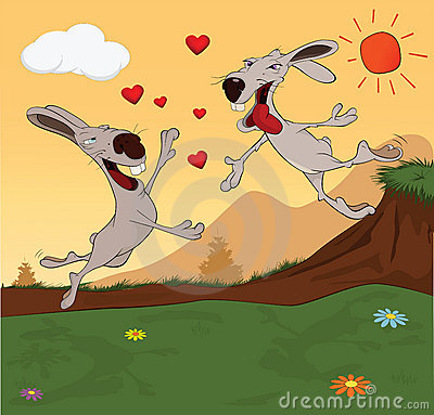 Meeting of rabbits. Cartoon