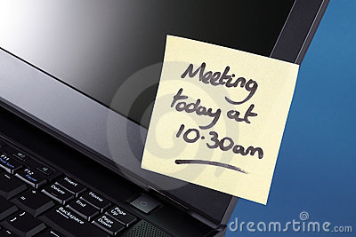 Meeting reminder on adhesive note