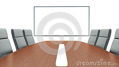 Meeting room with projection screen and conference table