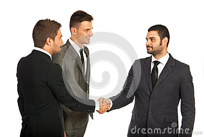 Meeting of three business men