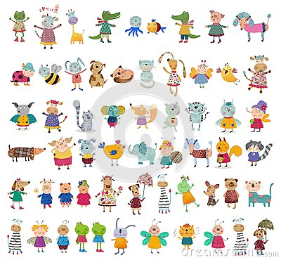 Free Mega Collection Of Cartoon Characters Royalty Free Stock Photo - 53075485