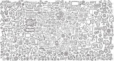 Mega Doodle Design Elements Vector Set Vector Illustration