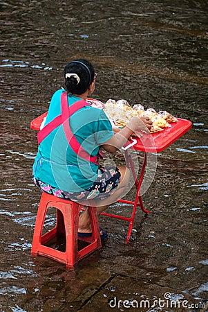 Mega floods at Bangkok in Thailand. Editorial Stock Photo