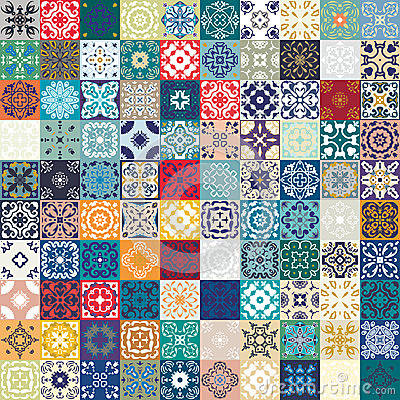 Free Mega Gorgeous Seamless Patchwork Pattern From Colorful Moroccan Tiles, Ornaments. Can Be Used For Wallpaper, Pattern Fills, Web Pa Stock Photography - 69161772