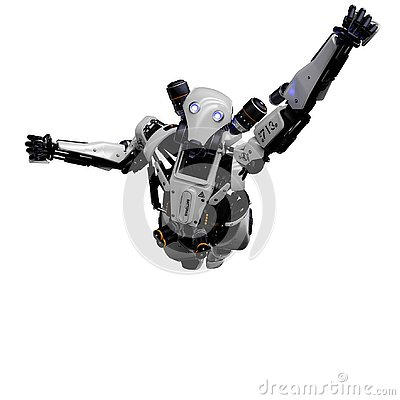 Free Mega Robot Super Drone In A White Background Royalty Free Stock Photos - 138121348