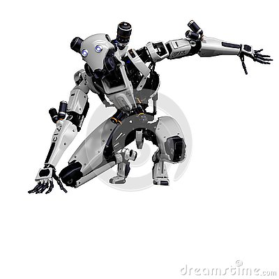 Free Mega Robot Super Drone In A White Background Stock Photography - 138121412