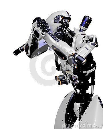 Free Mega Robot Super Drone In A White Background Stock Image - 138121481