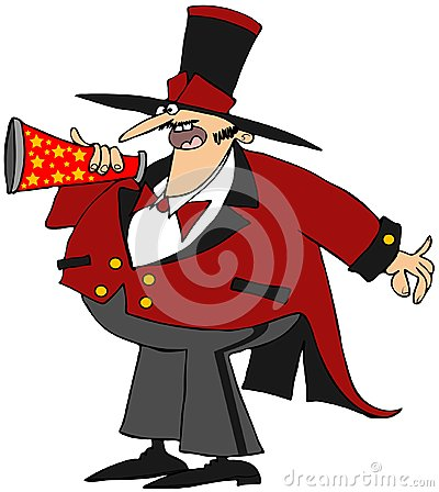 Παρουσηαστής προγράμματος τσίρκου με megaphone