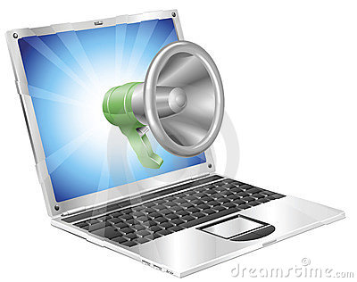 Megaphone icon laptop concept