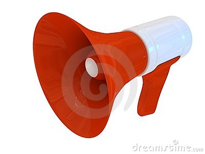 Megaphone over white background