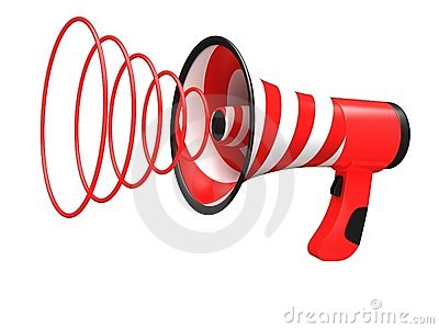 Megaphone with red stripes