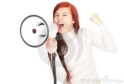 Megaphone and shouting teenage girl