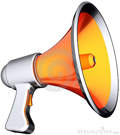 Megaphone stylish orange silver