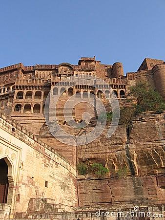 Meherangarh fort facade, Rajasthan, Jodhpur, India