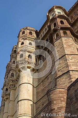 Mehrangarh Fort walls in Jodhpur, Rjasthan, India
