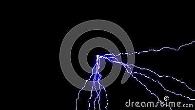 Mehrere Blitze, die von der Mitte des Bildschirms bis zu allen Kanten mit blauem Glühen in nahtloser Schleife auffallen stock video