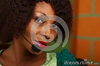 Meisje in call centre