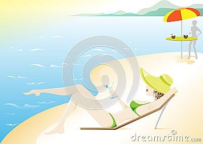 Meisje, de roeping van de Zomer op het strand