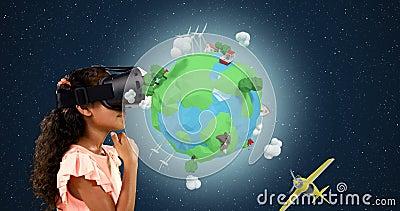 Meisje die virtuele werkelijkheidshoofdtelefoon met digitaal geproduceerde reispictogrammen 4k met behulp van stock videobeelden
