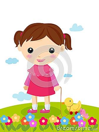 Meisje en haar stuk speelgoed