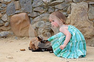 Meisje en kleine geit (jong geitje)