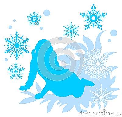 Meisje en sneeuwvlokken