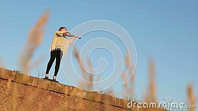 Meisje het spelen bij de viool stock videobeelden