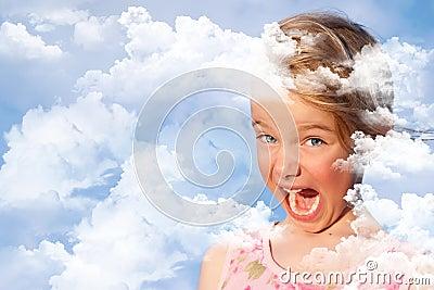 Meisje met haar hoofd in de conceptuele wolken -