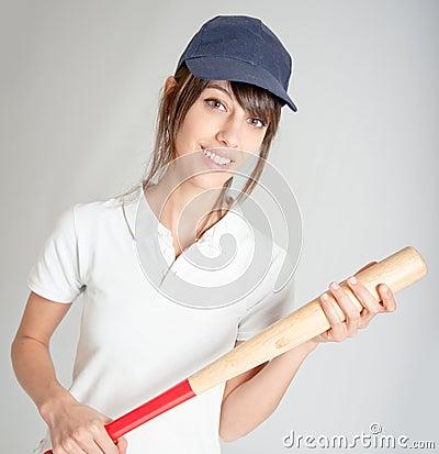 Meisje met knuppel