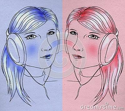 Meisje met oortelefoons