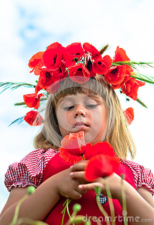 Meisje met papavers