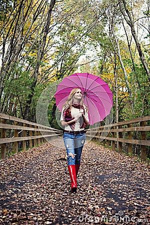 Meisje met paraplu