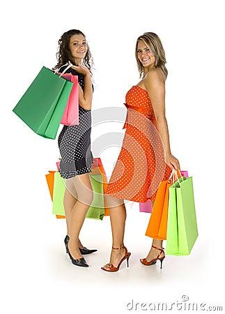 Meisjes bij het winkelen