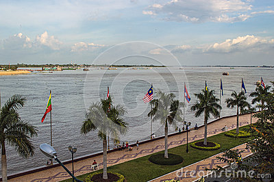 Mekong river in Phnom Penh