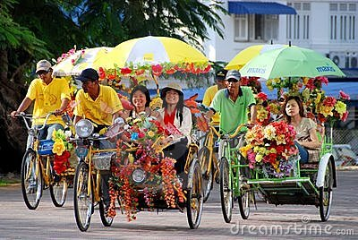 Melaka, Malaysia:  Famed Flower Taxis Editorial Image