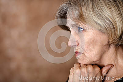 Melancholy older woman