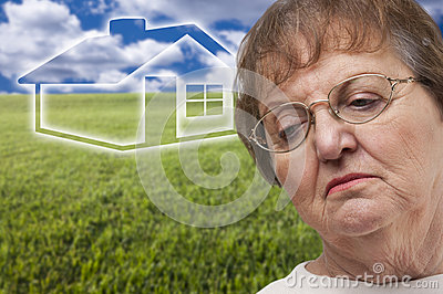 Melancholy Senior Woman and Grass Field and Ghoste