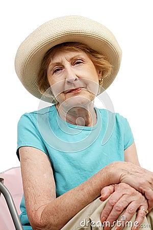 Melankolisk pensionär för strand