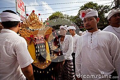 Melasti Ritual on Bali Editorial Stock Photo