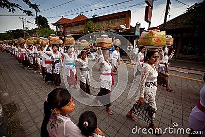 Melasti Ritual on Bali Editorial Stock Image