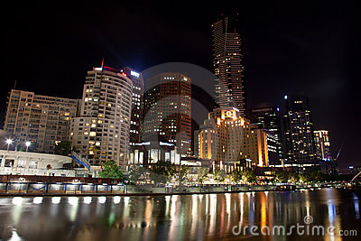 Melbourne City Buildings at night Editorial Photography
