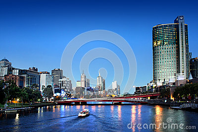 Melbourne city at night Editorial Stock Image