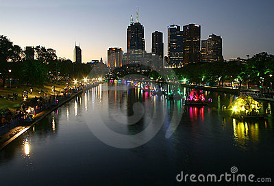 Melbourne City Night Landscape