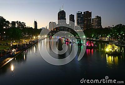 Melbourne City Night Landscape